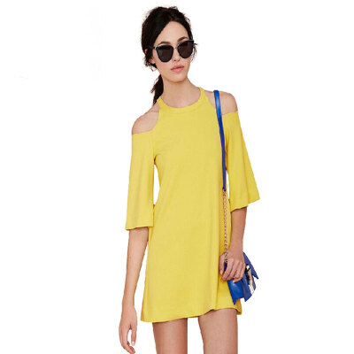 Lovaru ™New 2015 fashion Simple off-the-shoulder horn sleeve mini easing A pure color dress casua shopping style