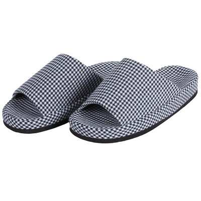 Jingdong supermarket the United States is still goods meishangpin Four Seasons Couples home small grid cotton cloth pellets at the end of slippers male models are dark blue for 40-43 yards 1000