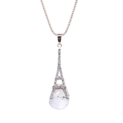 Урожай Элегантный Париж Эйфелева башня Жемчужина длинное ожерелье Кристалл Rhinestone украшения для женщин