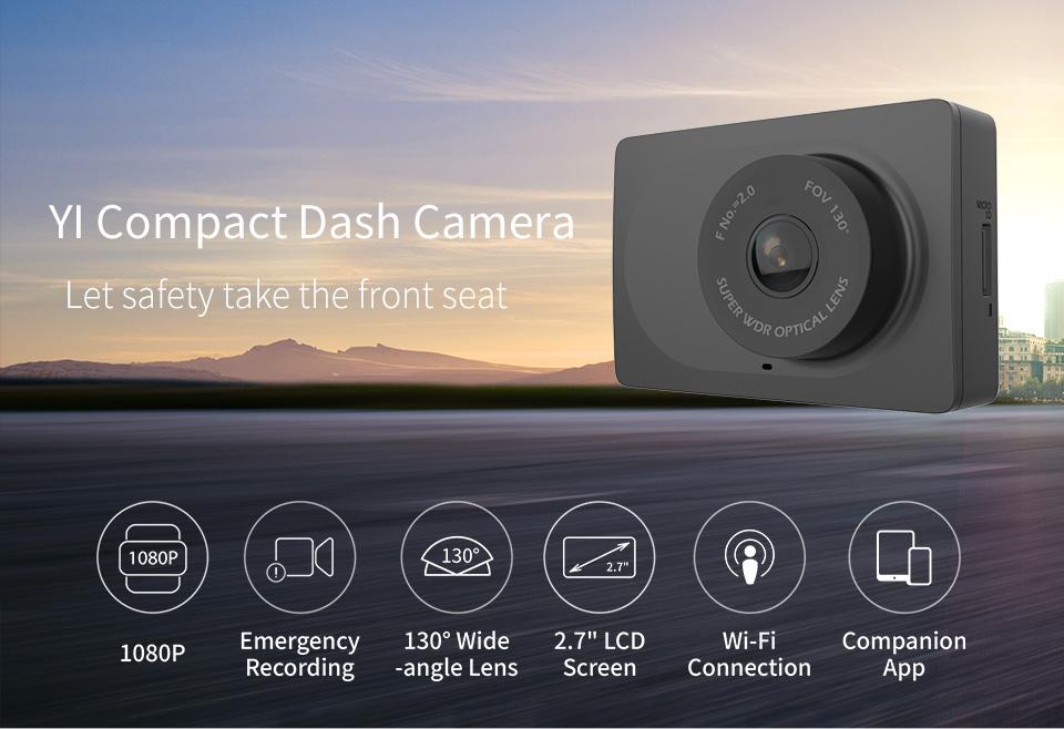 Camera Hành Trình Trên Ô Tô YI Xiaomi - Đen, Màn Hình LCD 2.7 Inch 1080p Full HD Ống Kính 130 Độ Rộn...