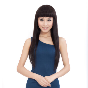 Monofilament Cap Human Hair Women's Long Straight Wig with Flat Fringe ...