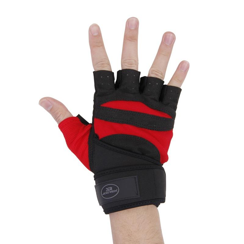 JD Коллекция красный-черный L перчатки без пальцев шерстяные с рисунком бордо