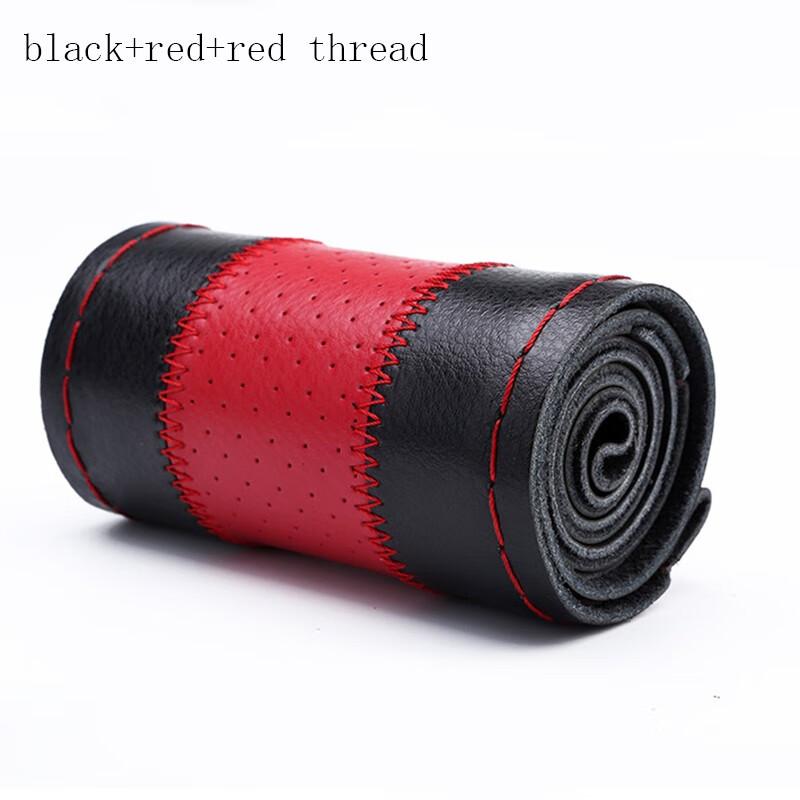 Huiermeimi Черные и красные большой 40cm Автомобильная руля Обложка Auto Внутренний аксессуар Натуральная кожа с отверстием Braid