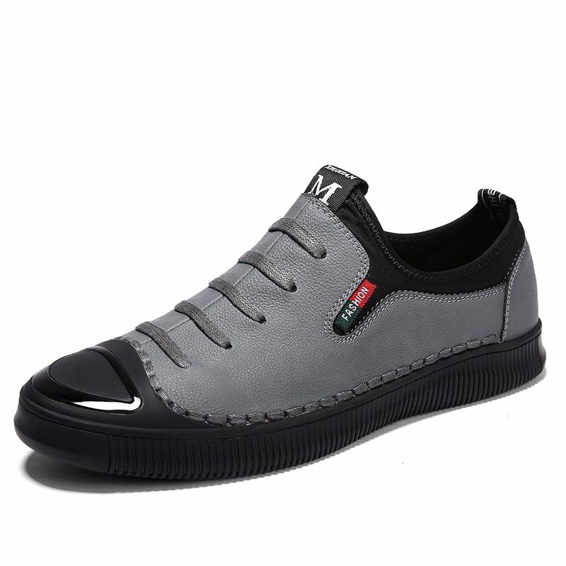 Скольжение на обуви мужчины Обувь для вождения Кожаная обувь Официальная обувь Мужская обувь для мужчин luoweikedeng Серый 41 фото