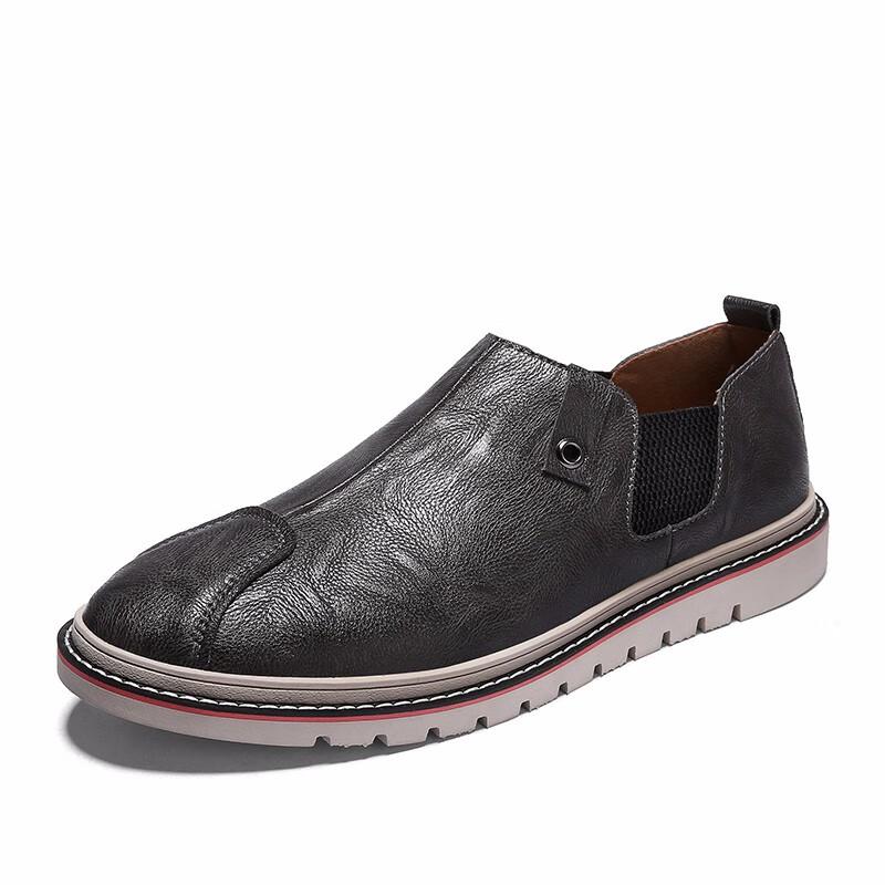 Скольжение на обуви мужчины Обувь для вождения Кожаные туфли официальная обувь мужчины luoweikedeng Серый 41 фото