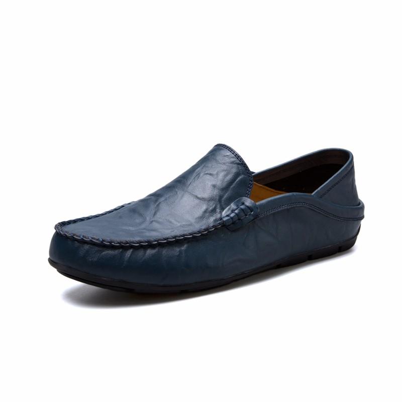 Скольжение на обуви мужчины Обувь для вождения Кожаная обувь Официальная обувь Мужчины luoweikedeng Blue 46 фото