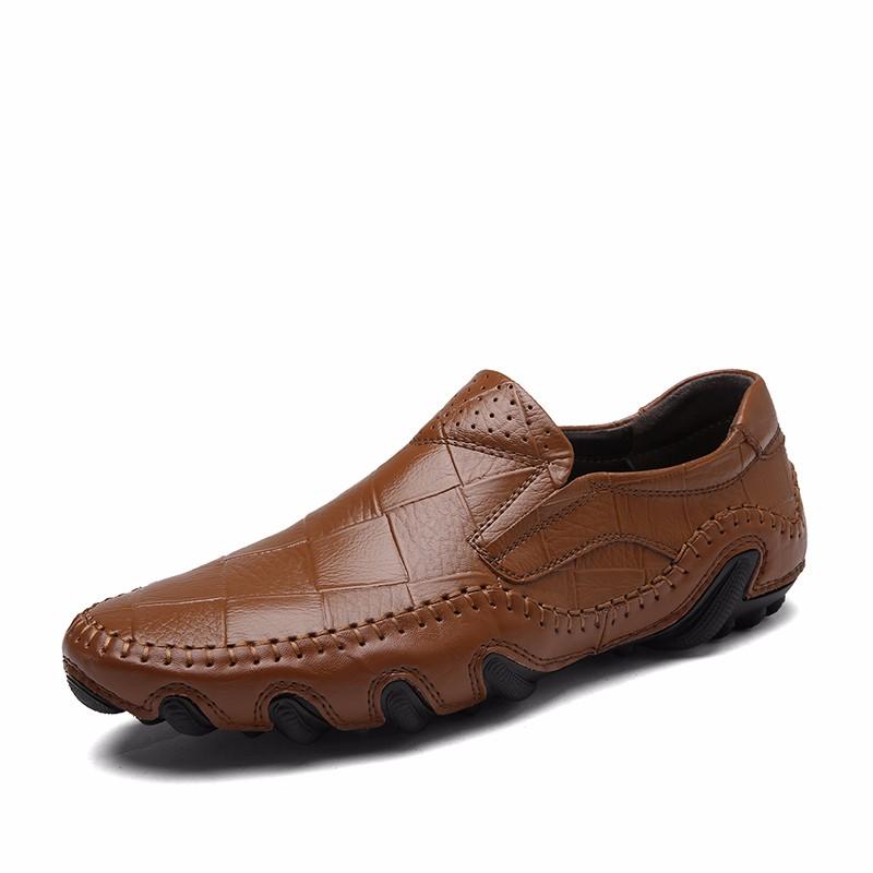 Скольжение на обувь мужчины Обувь для вождения Кожаные туфли официальная обувь мужчины luoweikedeng Brown 40 фото