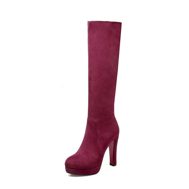 Колено высокие сапоги для женщин высокие каблуки широкие теленок женские длинные сапоги матовый бархат IDIFU красный 10 фото