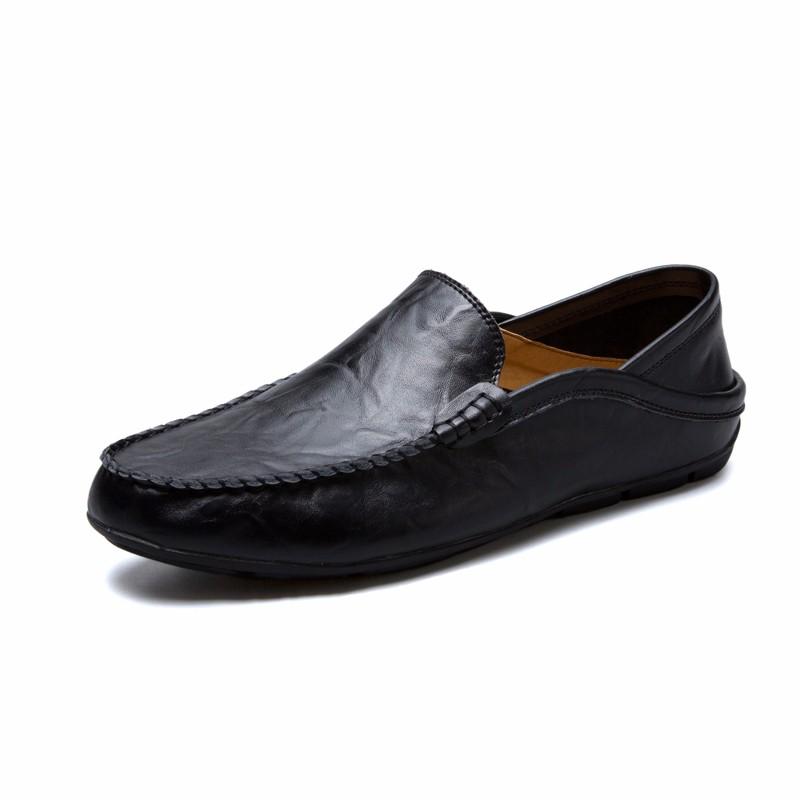 Скольжение на обуви мужчины Обувь для вождения Кожаная обувь Официальная обувь Мужчины luoweikedeng Black 43 фото
