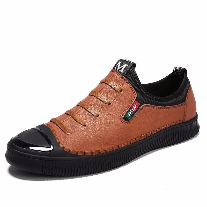 Скольжение на обуви мужчины Обувь для вождения Кожаная обувь Официальная обувь Мужская обувь для мужчин luoweikedeng Brown 39 фото