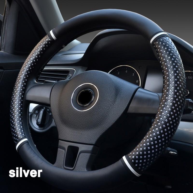 Автомобильная руля Обложка Удобная 363840 см Micro Fiber Leather Antiskid Huiermeimi Серебряный средний 38см фото