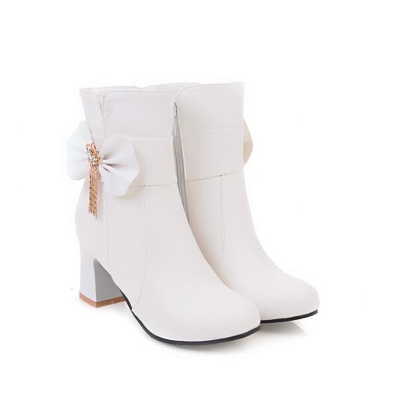 Лодыжки сапоги короткие сапоги для женщин со средними каблуками снежные ботинки на распродажах IDIFU белый 8 фото