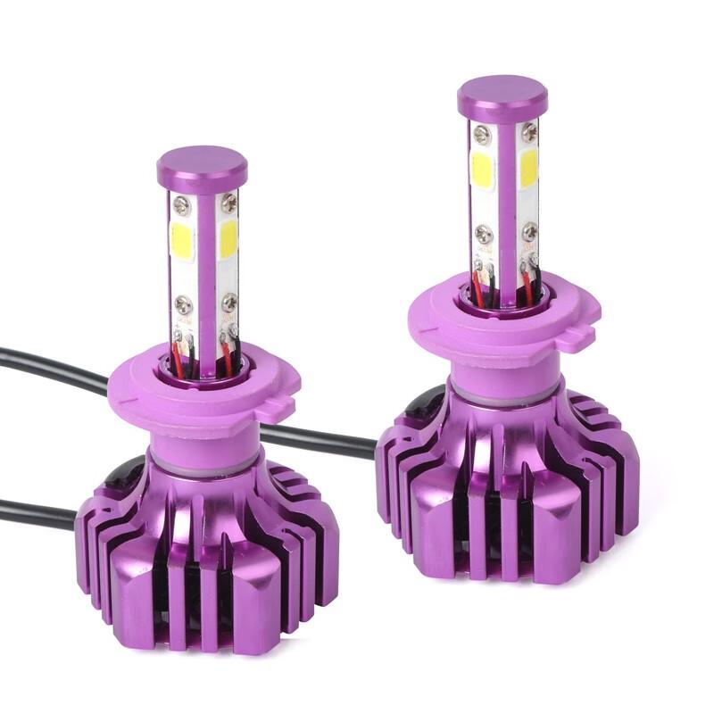 LUTU Фиолетовый цвет H7 H7 B3 2Pcs Автомобильная светодиодная лампа 6500K 36W