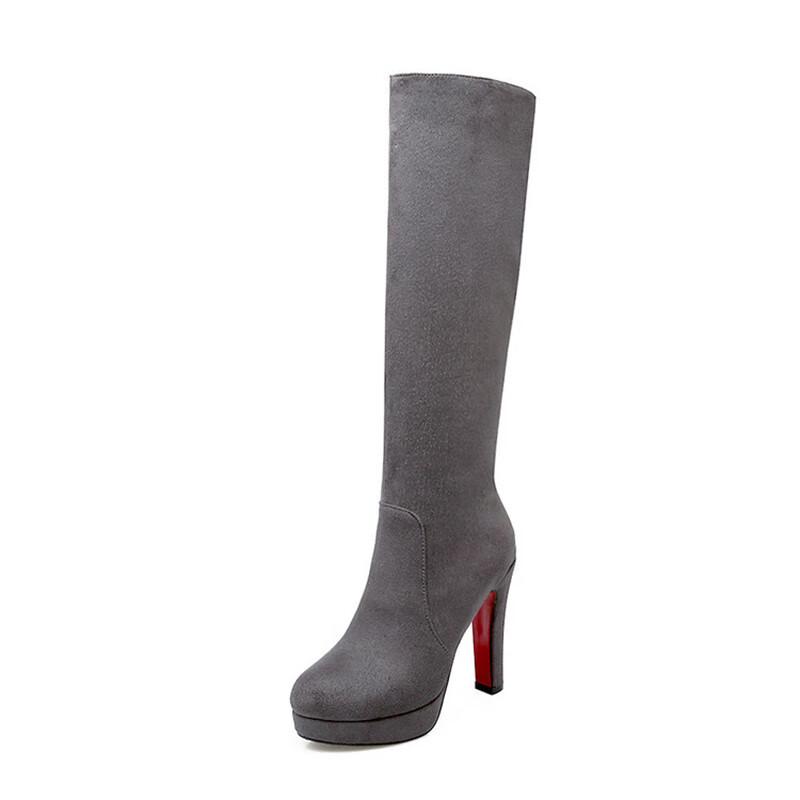 Колено высокие сапоги для женщин высокие каблуки широкие теленок женские длинные сапоги матовый бархат IDIFU Серый 7 фото