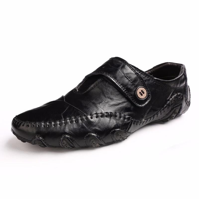 Скольжение на обувь мужчины Обувь для вождения Кожаная обувь Официальная обувь Мужская обувь Мужская обувь Мокасины Повседневная обувь Кожаная обувь Для мужчин рабочая обувь luoweikedeng Black 43 фото