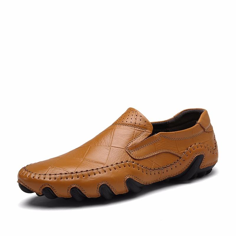 Скольжение на обувь мужчины Обувь для вождения Кожаные туфли официальная обувь мужчины luoweikedeng Yellow 42 фото