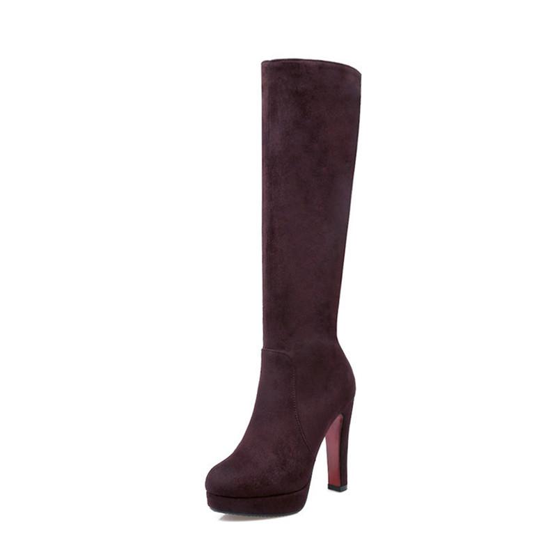 Колено высокие сапоги для женщин высокие каблуки широкие теленок женские длинные сапоги матовый бархат IDIFU коричневый 7 фото