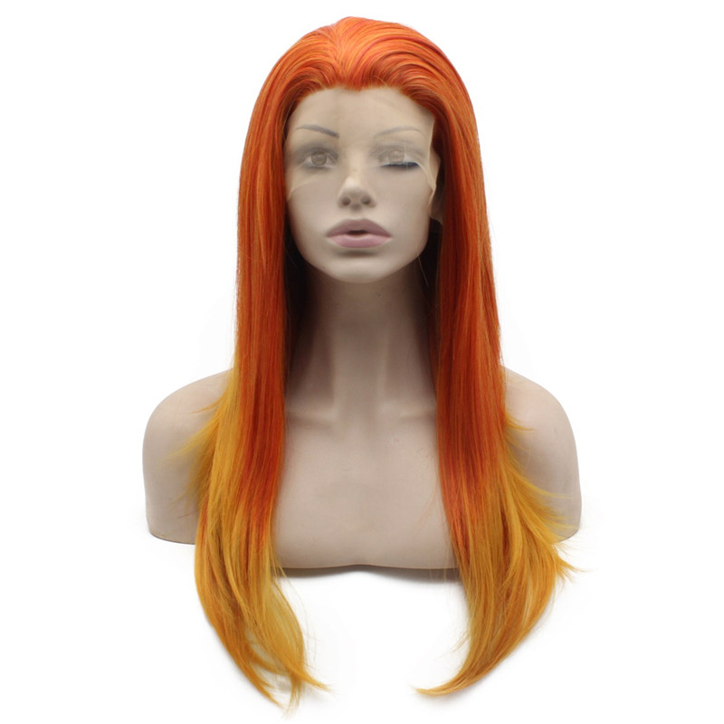iwona 24 inches n22 t613 3100 red mix blonde root color for cosplay party synthetic lace front wig sex summer style long silky straight wigs