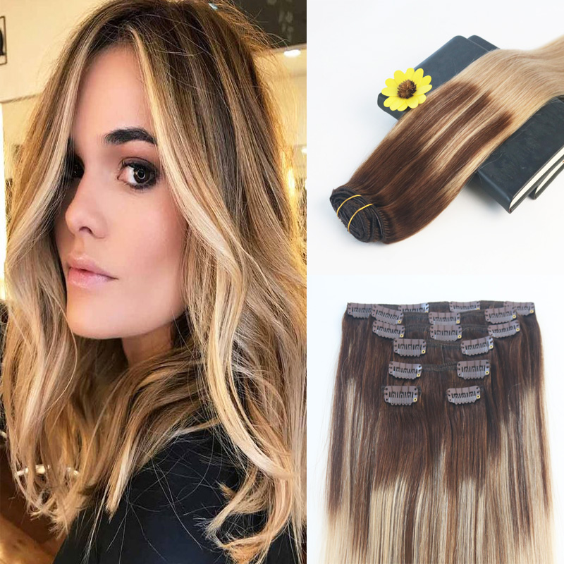 Ever magic 16 inches 7pcs 120g color 3 24 3 brazilian remy hair full set clip on hair extensions 100% human ombre balayage hair extensions