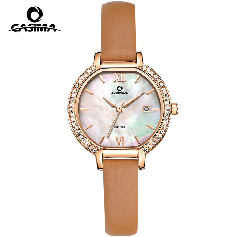 CASIMA Белая поверхность Золотые и коричневые женские часы золотые часы