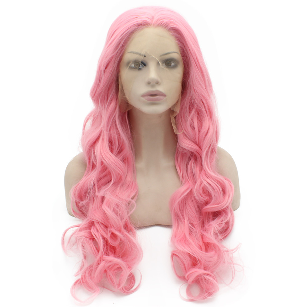 iwona fashion woman s wig long body wave lace front synthetic hair black color heat resistant page 4