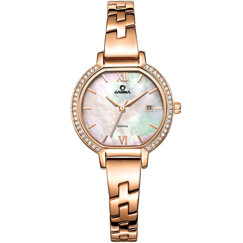 CASIMA Золотой белый циферблат Стальной пояс Женские часы 2017 мода yazole часы женские наручные часы женские наручные часы женские уникальные часы элегантные кварцевые часы