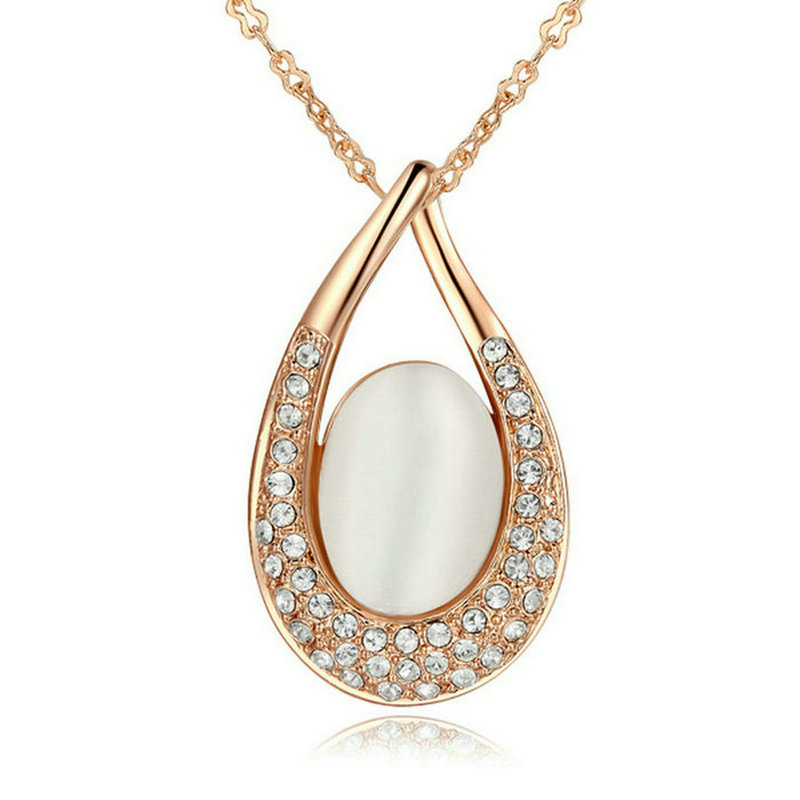 yoursfs yoursfs® round loop rose gold plated zircon pendant necklace