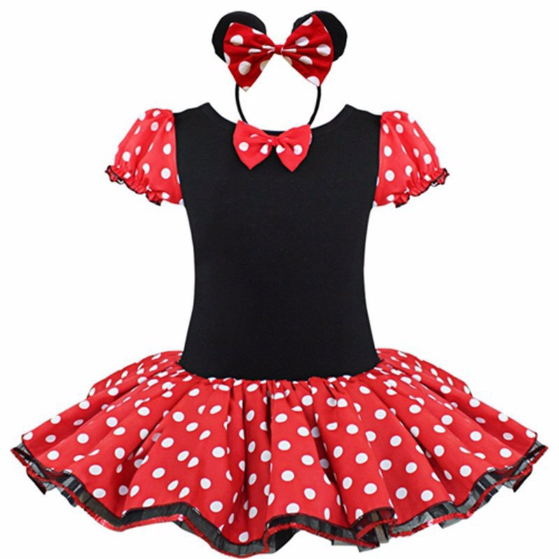 GHFTTY Red 2T flower girl dress kids costume toddler baby children clothing polka dot princess party wedding formal tutu girls dress summer