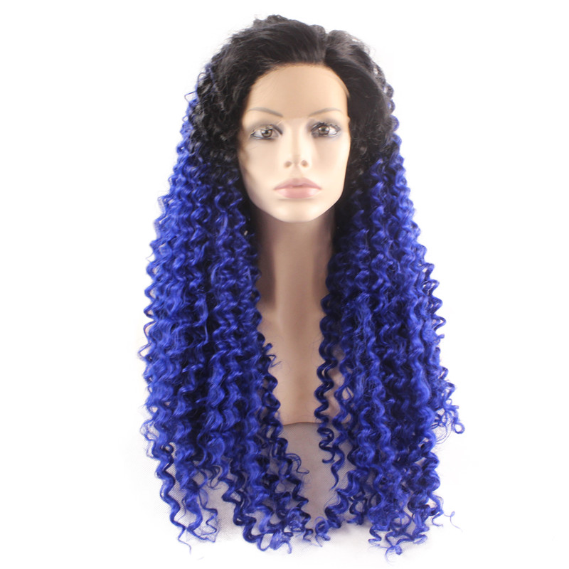 iwona in stock heat resistant with dark root ombre mint curly wigs synthetic lace front wig for black women free shipping