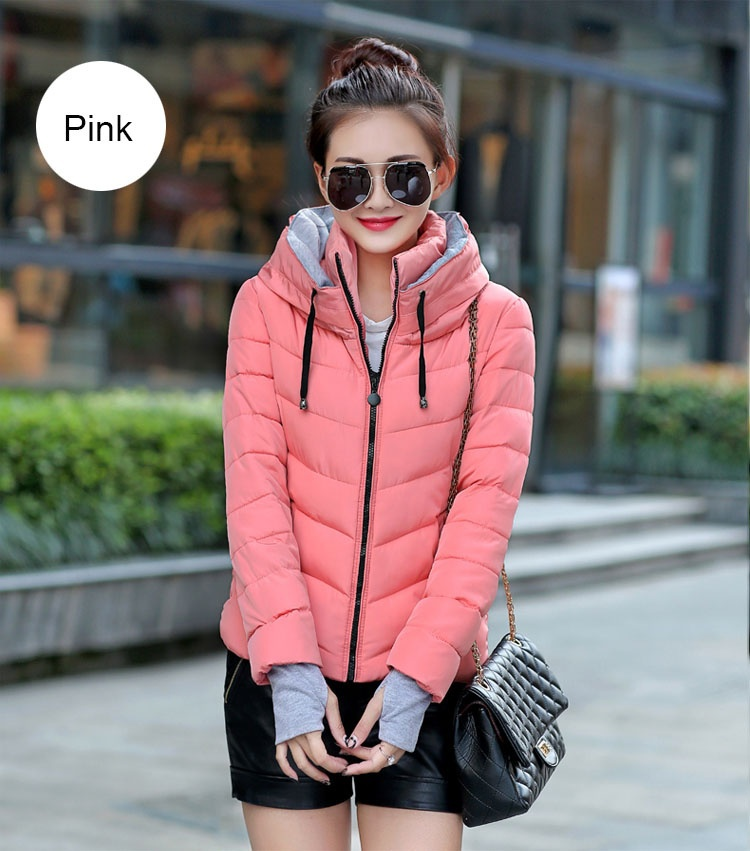 ZOGAA Розовый Номер XXL new fashion winter jacket women fur collar hooded jacket warm thick coat large size slim for women outwear parka women g2786