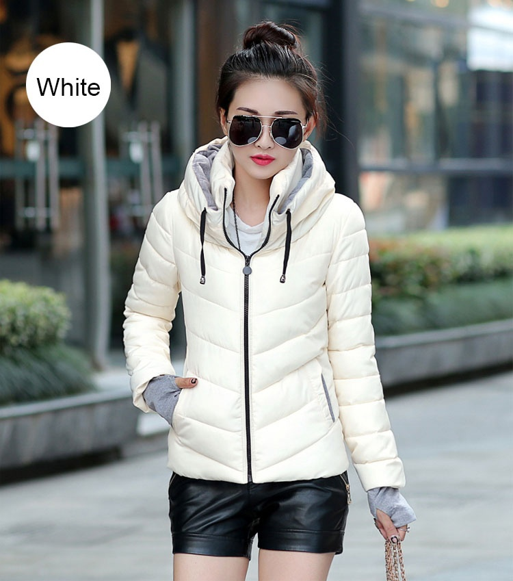 ZOGAA Белый Номер М winter long thick hoodied cotton coat fashion pattern parka jacket women cotton padded clothing girl fashion slim body pockets