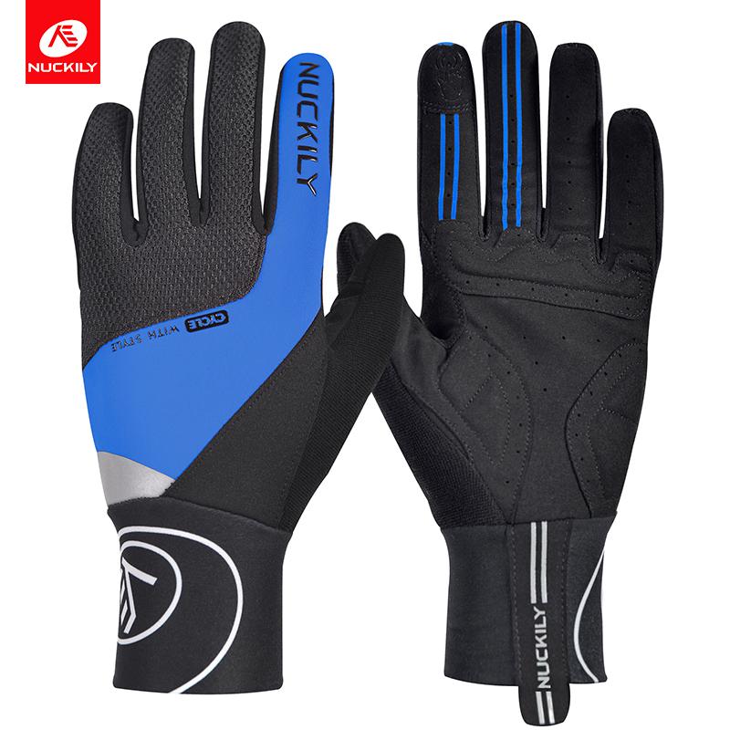 NUCKILY Синий XL pro biker mcs 03 motorcycle racing full finger warmer gloves blue black grey size xl pair