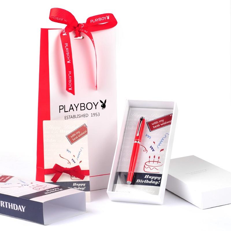 JD Коллекция красный красная и белая ручка playboy плейбой элегантности чистого черного золота клип авторучки чернила перо ink gift set p1008