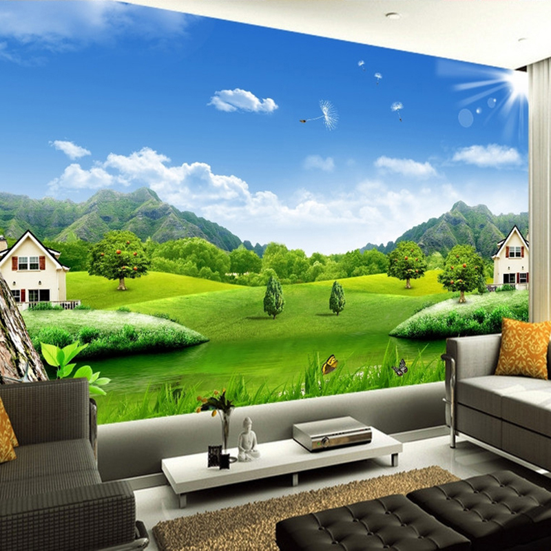 Colomac Смешанный цвет пользовательские 3d обои для фото blue sky lake вода природа ландшафт декоративная картина диван тв заставка обои для спальни