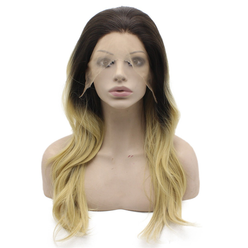 iwona long wavy ombre blonde glueless lace front synthetic wig
