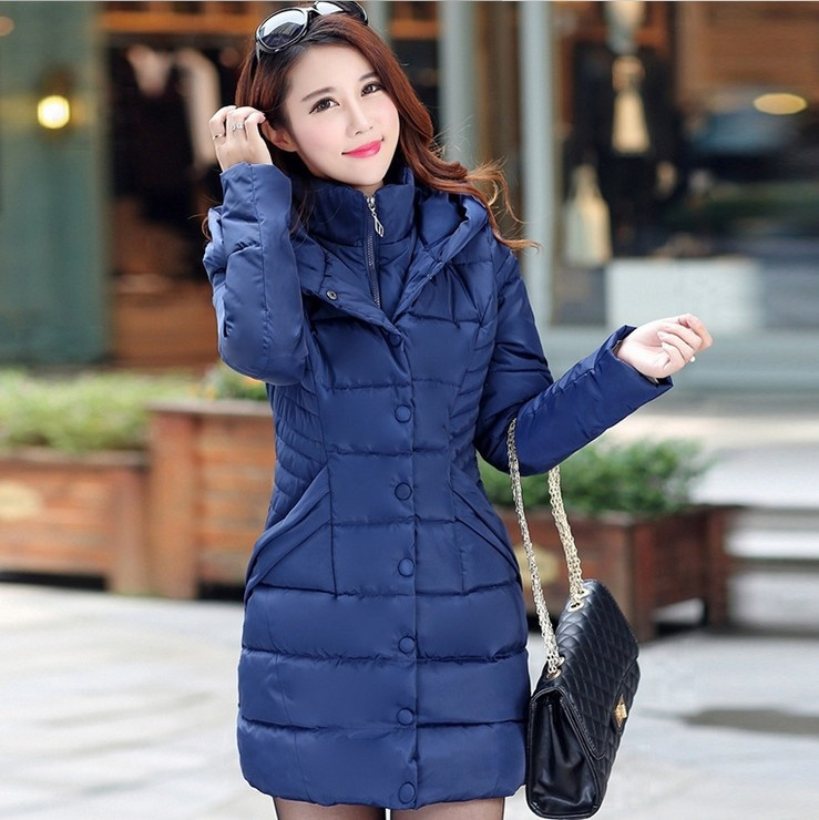 ZOGAA Синий цвет winter long thick hoodied cotton coat fashion pattern parka jacket women cotton padded clothing girl fashion slim body pockets