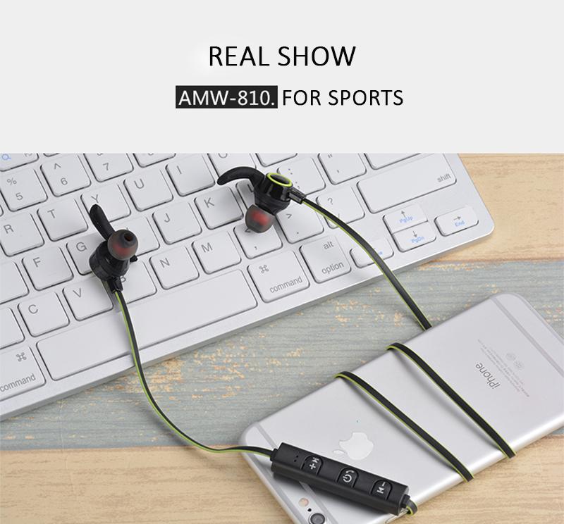 WH Зеленый AMW-810 Спортивный Sweatproof Stereo Bass Hi-Fi