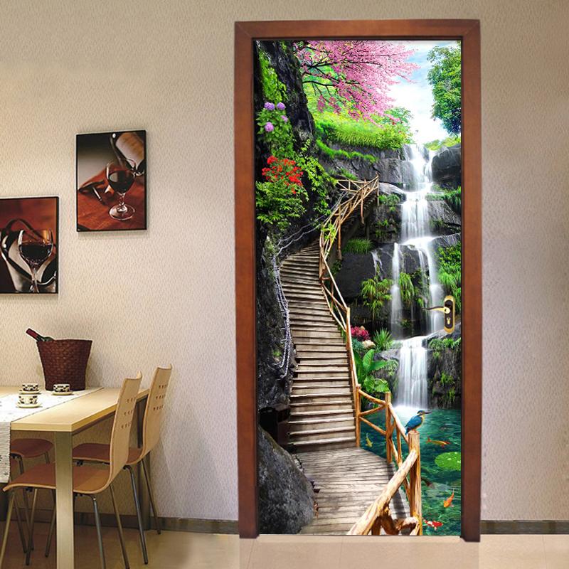 Colomac Смешанный цвет waterfall forest mural wallpaper классическая гостиная home decor дверная наклейка пвх водонепроницаемая самоклеящаяся наклейка 70см x 200см