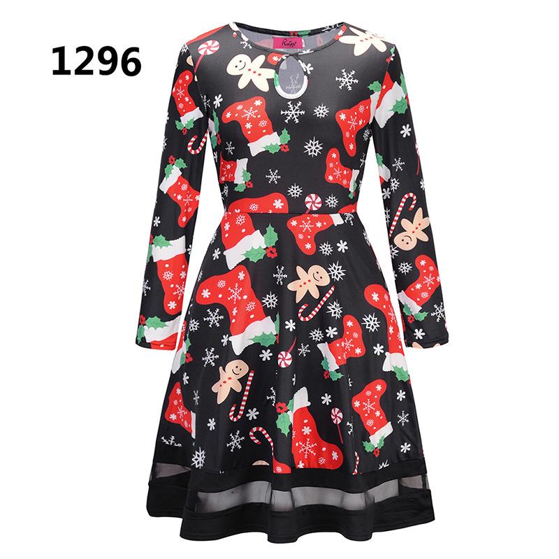 ZOGAA 1296 Номер S women s christmas snowman elk prints long sleeved dresses