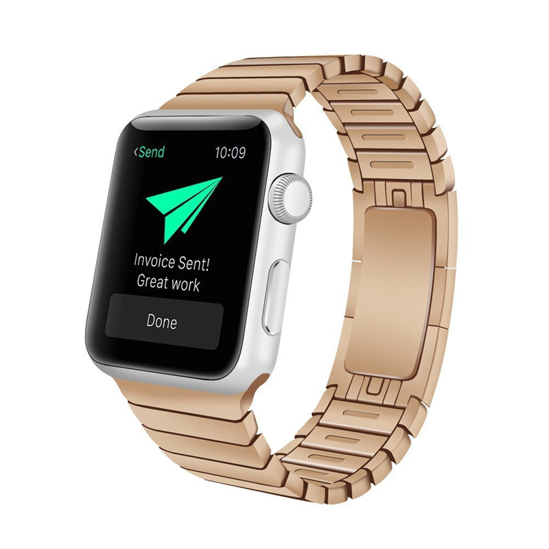 PINSENDA Розовое золото 42MM 38mm 42mm smart watch metal strap for apple watch band three links bracelet stainless steel band for apple watch series 3 2 1
