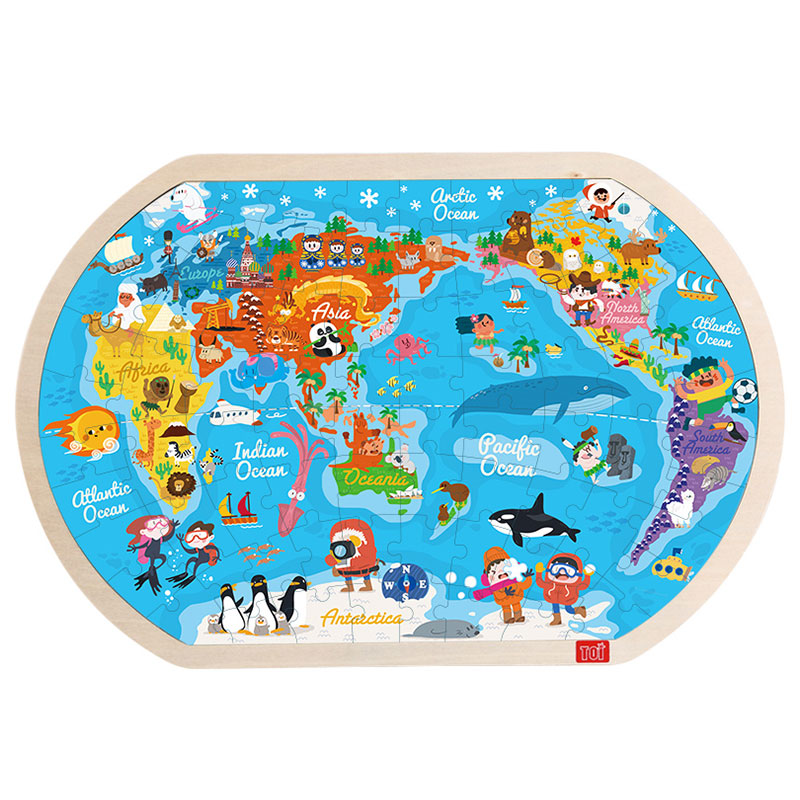 TOI World Map808PCS cartoon educational puzzle wooden kids toys developmental wood toy montessori jigsaw puzzle speelgoed games for children 60d0037