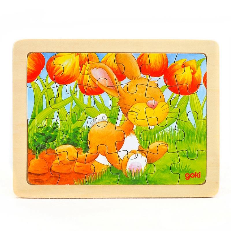 goki Puzzle Animal rabbit24pcs mushroom stud building block jigsaw puzzle toy for kids 296pcs