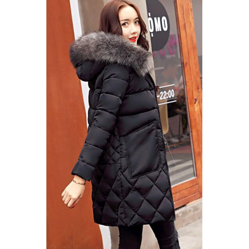 ZOGAA Черный Номер S new winter long coat female fashion wadded cotton jacket women parkas hooded women s padded jackets plus size casual coat c1114