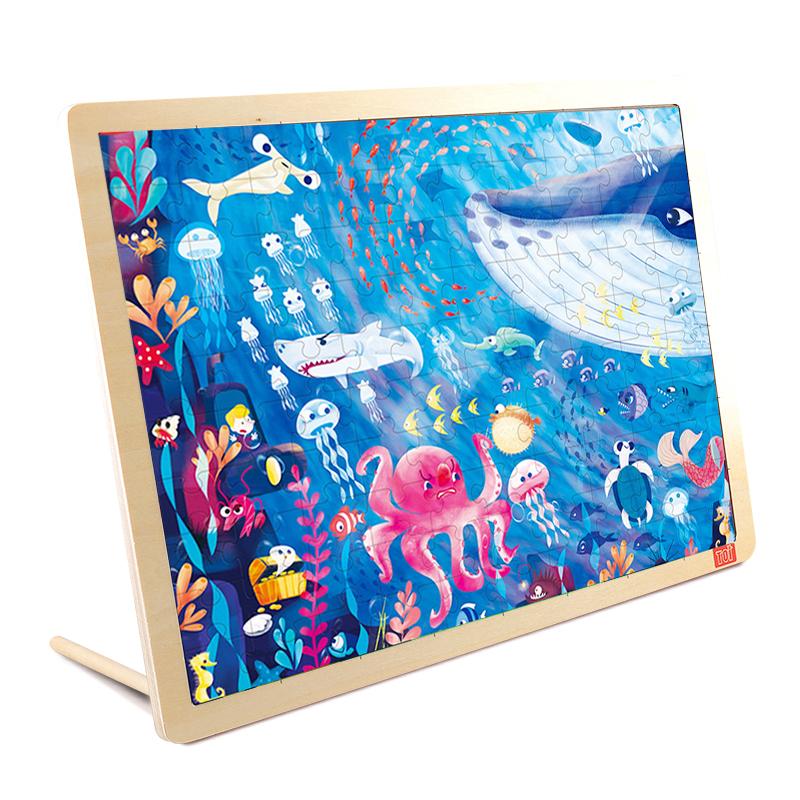TOI Sea World100PCS cartoon educational puzzle wooden kids toys developmental wood toy montessori jigsaw puzzle speelgoed games for children 60d0037
