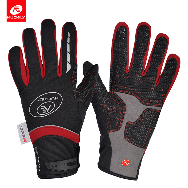NUCKILY Красный XL good hand full fingers cycling gloves black red pair size xl