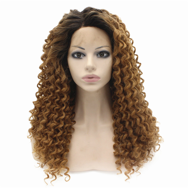 iwona 20 дюймов in stock heat resistant with dark root ombre mint curly wigs synthetic lace front wig for black women free shipping