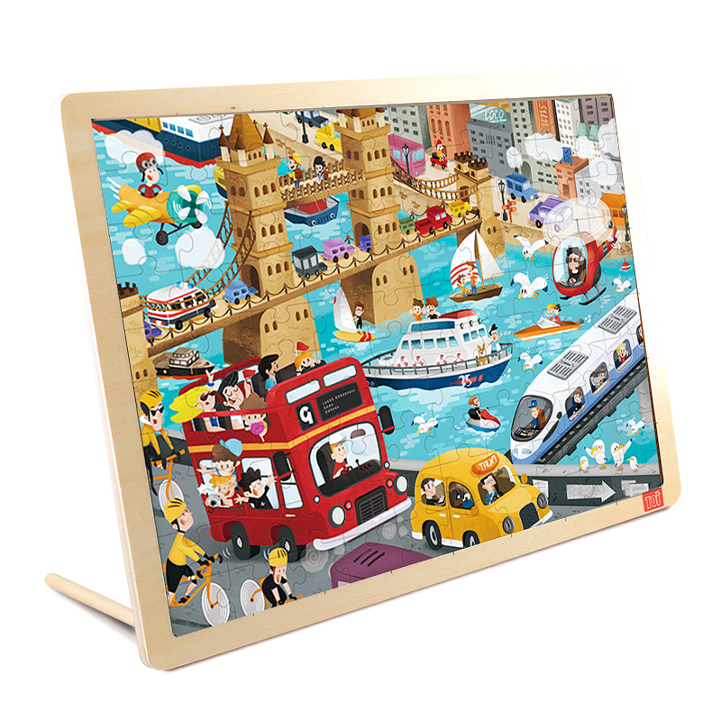 TOI Urban Transport100PCS 1 piece baby wooden toys magnetic fishing game jigsaw puzzle board 3d jigsaw puzzle children education toy for children
