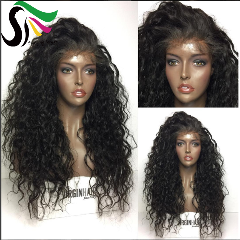 swingingforest Natural Color 10 inches peruvian virgin hair natural wave glueless full lace wigs natural color fast delivery by dhl