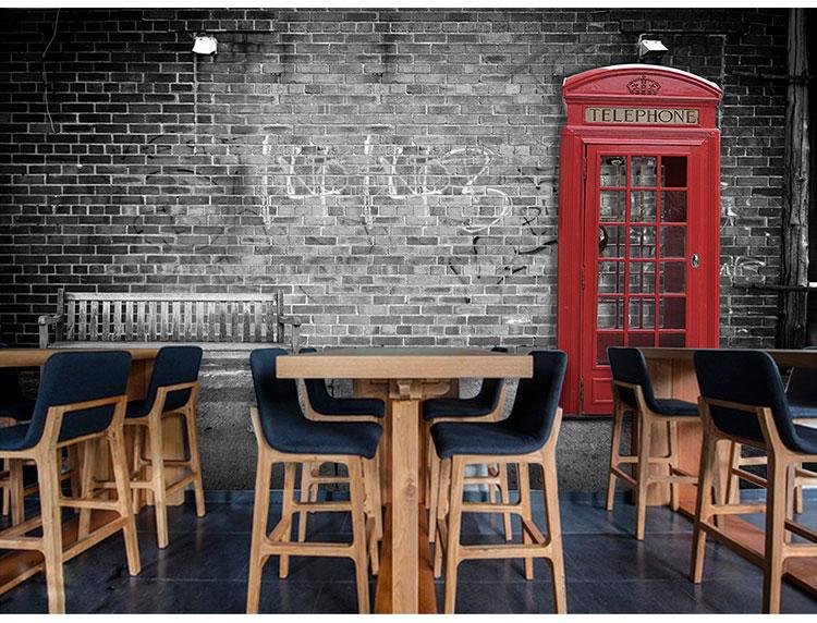 Colomac Blue фото обои европейский стиль ретро пекарня выпечка обои досуг западный ресторан кофе фон обои роспись