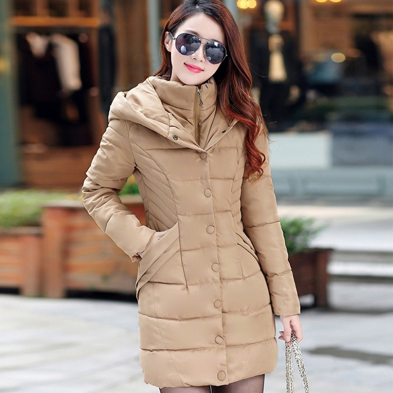 ZOGAA светло-коричневый winter long thick hoodied cotton coat fashion pattern parka jacket women cotton padded clothing girl fashion slim body pockets